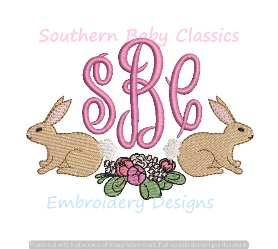Easter Bunny Rabbit Spring Flower Floral Peonies Monogram Swag Frame Machine Embroidery Design