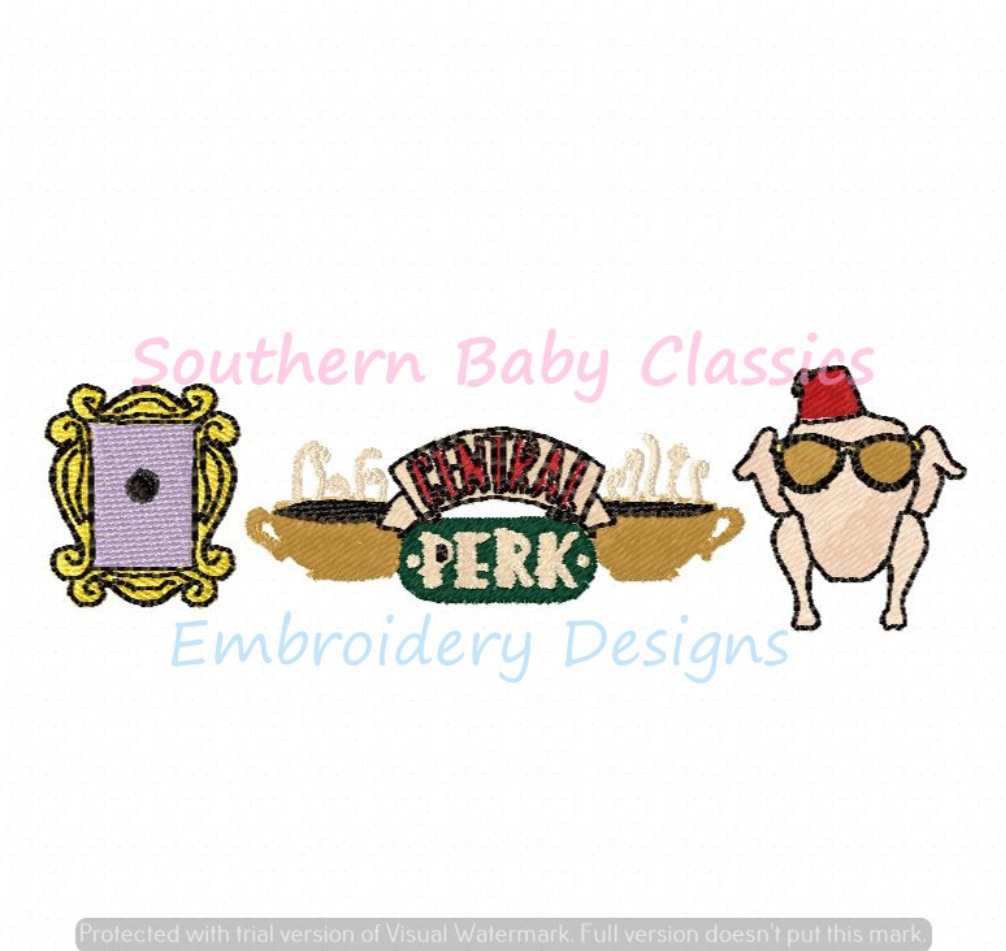 TV Show Trio Machine Embroidery Design Characters Central Perk Turkey Head Door Frame