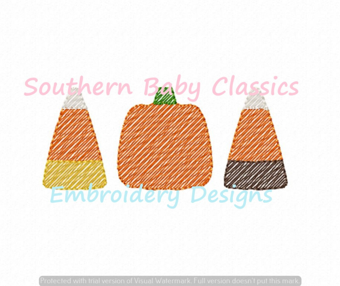 Halloween Candy Trio Sketchy Fill Machine Embroidery Design Fall Trick or Treat Candy Corn