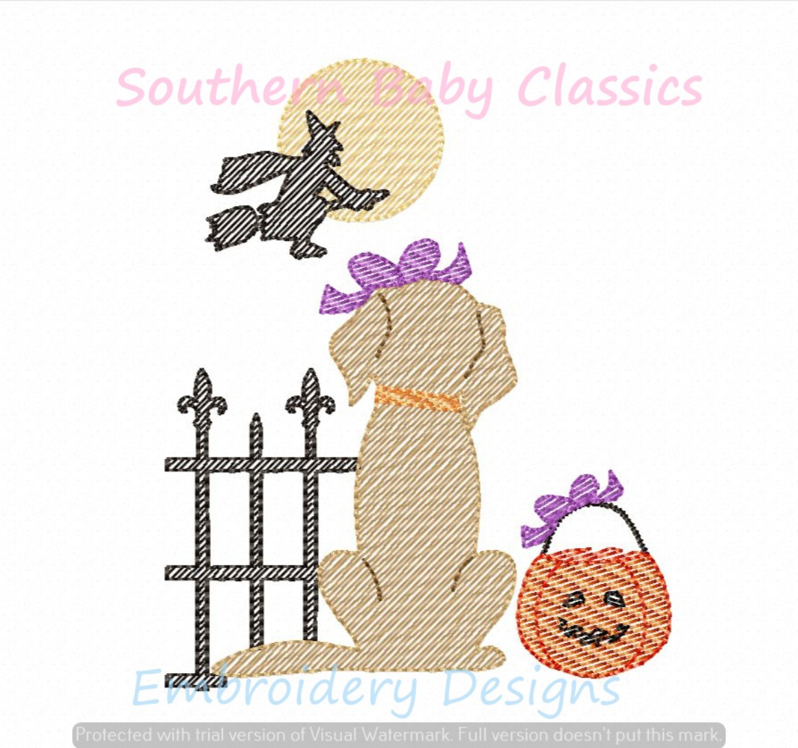 Trick or Treat Halloween Girl Dog from Behind Light Sketchy Machine Embroidery Design Lab Golden