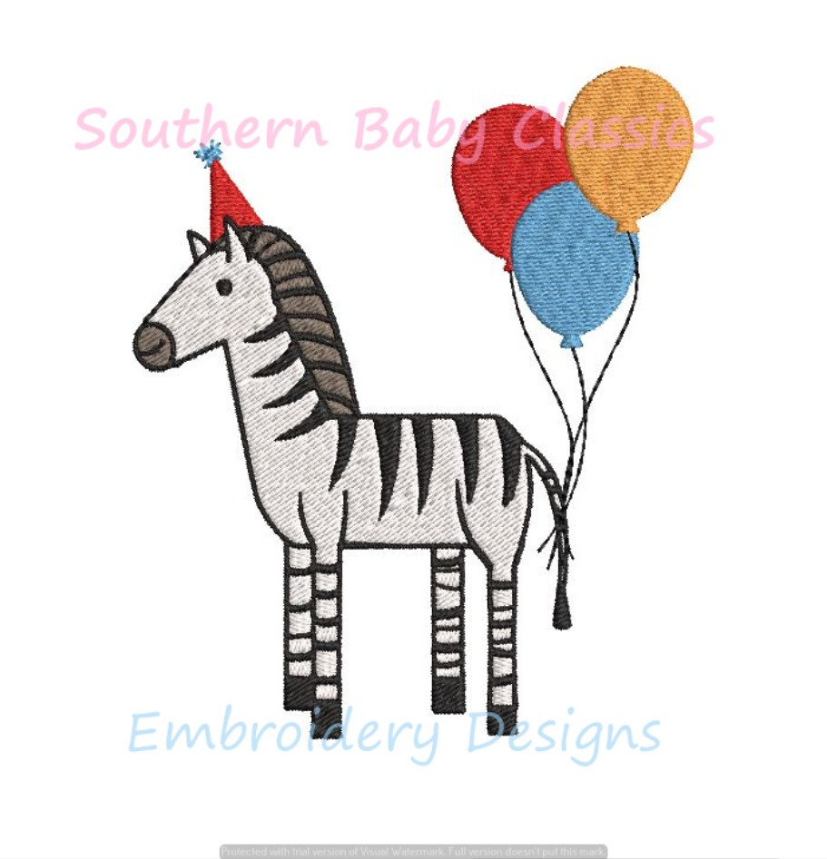 Party Zebra Fill Machine Embroidery Design Birthday Balloons Hat Zoo Jungle Party