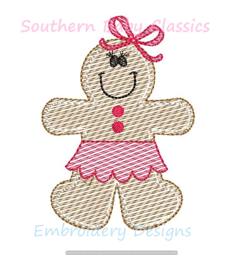 Christmas Gingerbread Girl Cookie Skirt Bow Sketchy Light Fill Machine Embroidery Design