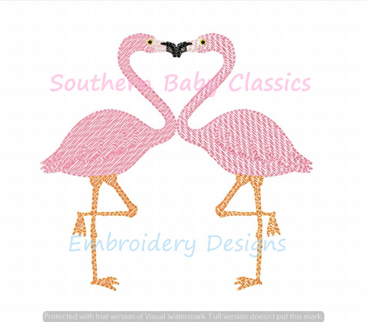 Flamingo Heart Duo Light Sketchy Machine Embroidery Design Valentine's Day Summer Girl