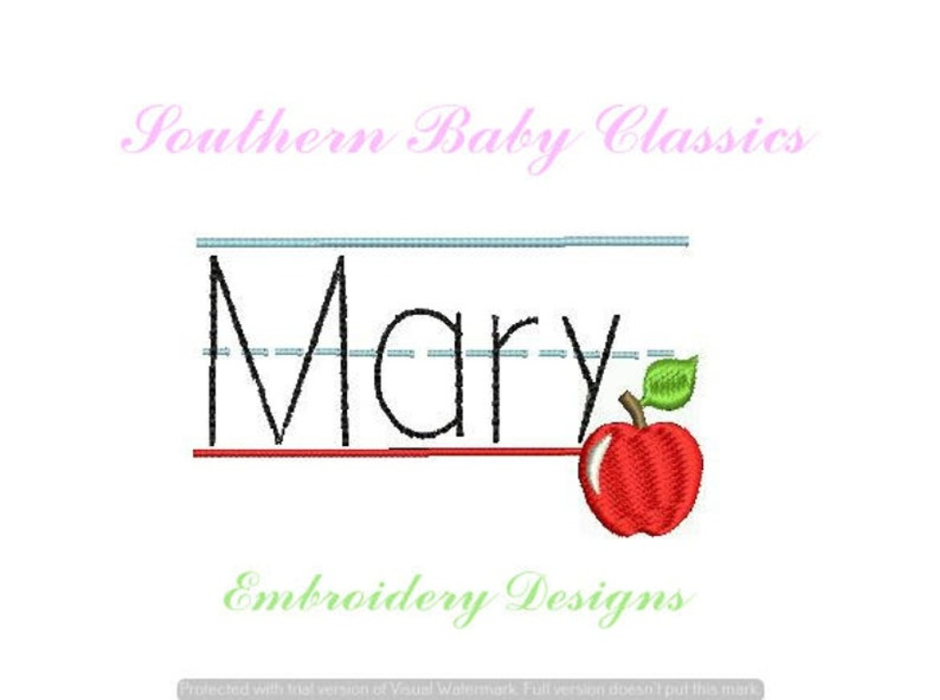 Lined Paper Apple Back to School Name Plate Frame Machine Embroidery Design