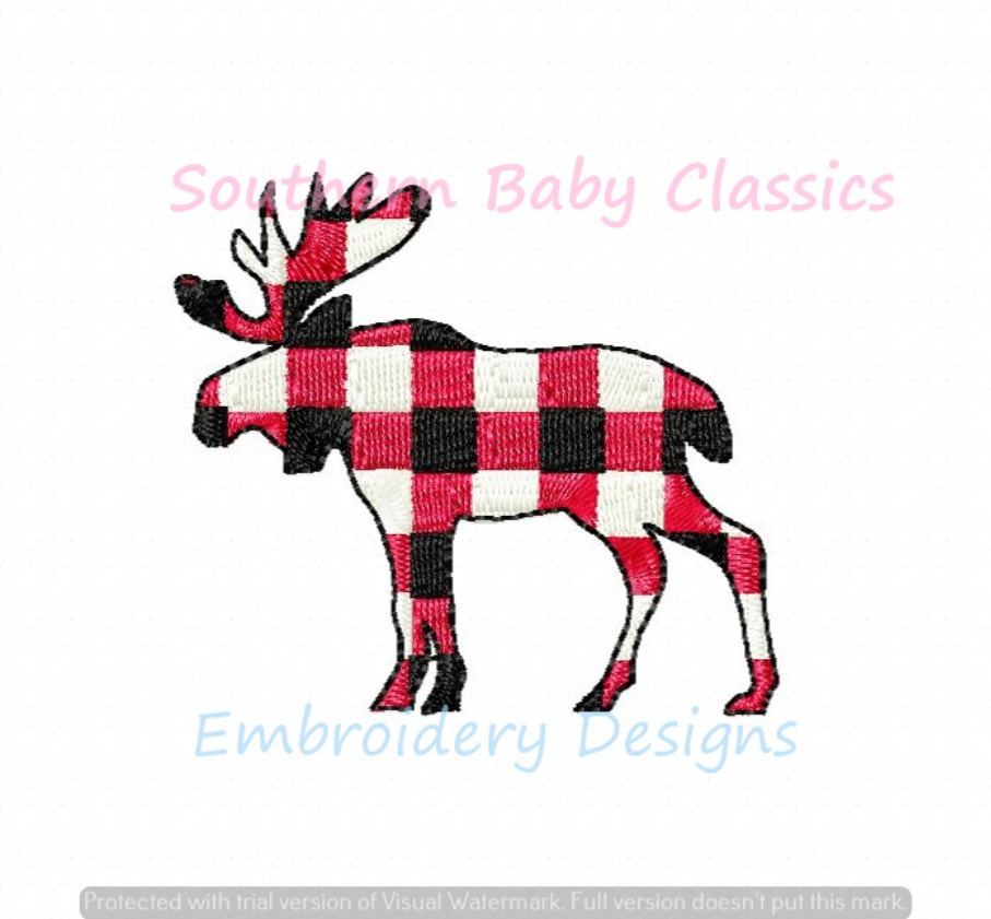 Gingham Moose Fill Machine Embroidery Design Fall Christmas Camping Forrest Woods