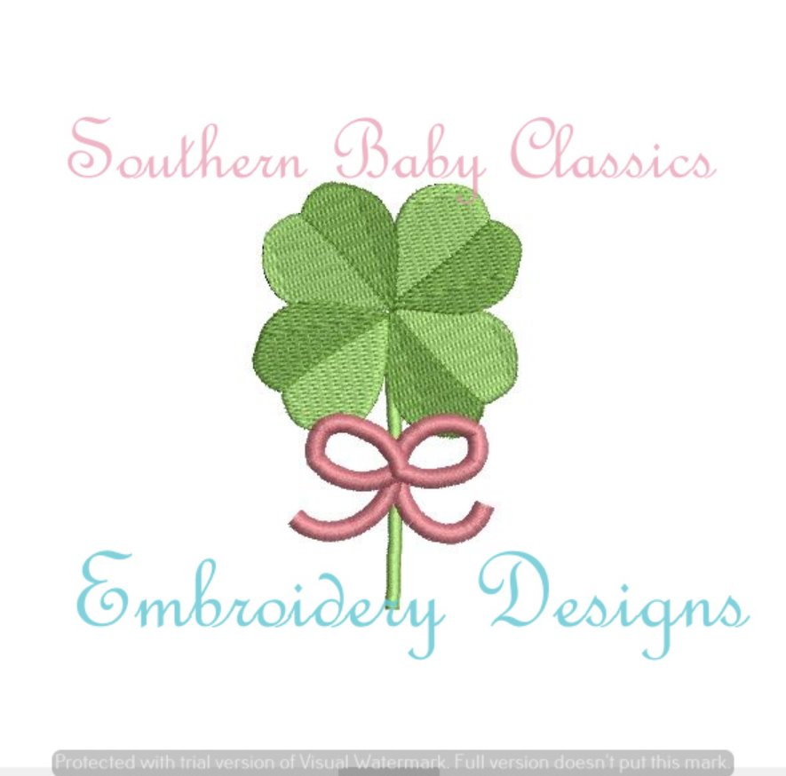 Clover Bow Mini Fill Machine Embroidery St Patrick's Day