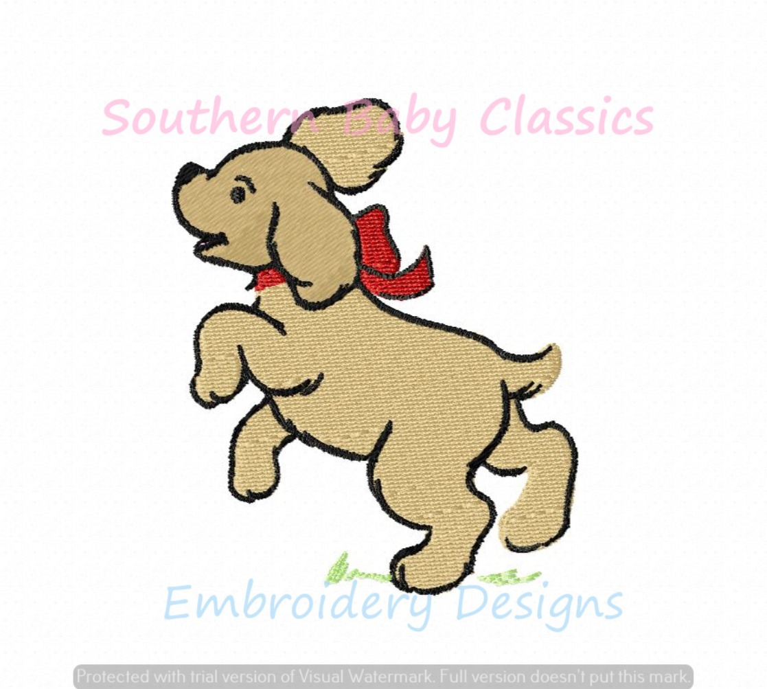 Golden Retriever Puppy Bow Dog Vintage Mini Fill Machine Embroidery Design Preppy Southern Girl
