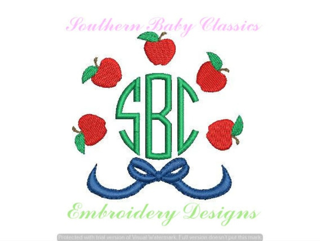 Apple Bow Circle Monogram Frame Back to School Girl Machine Embroidery Design