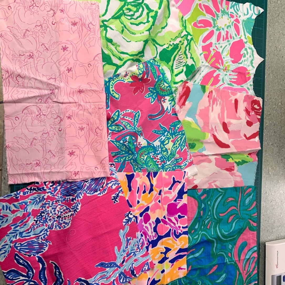 """Lilly Pulitzer Fabric Grab Bag #3 8 Pieces All Guaranteed to be at least 10""""x10"""""""