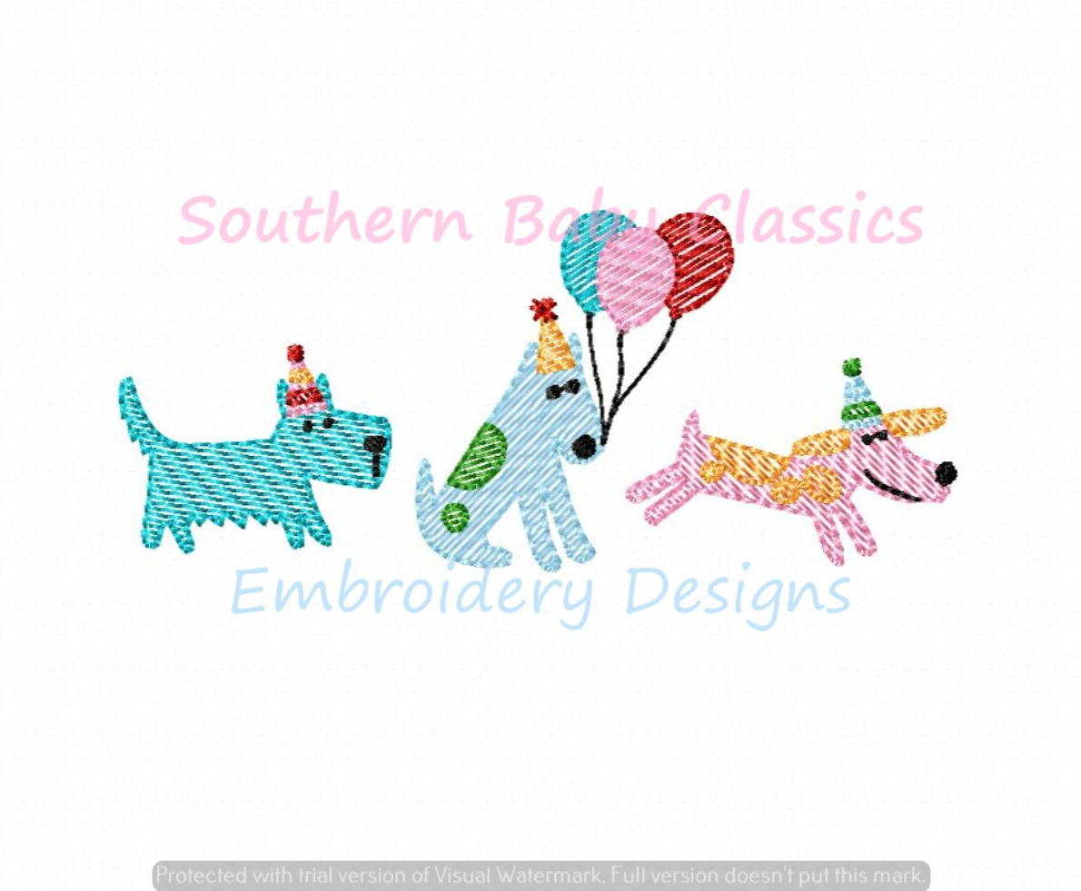 Birthday Dogs Balloon Trio Light Sketchy Fill Machine Embroidery Design Hats