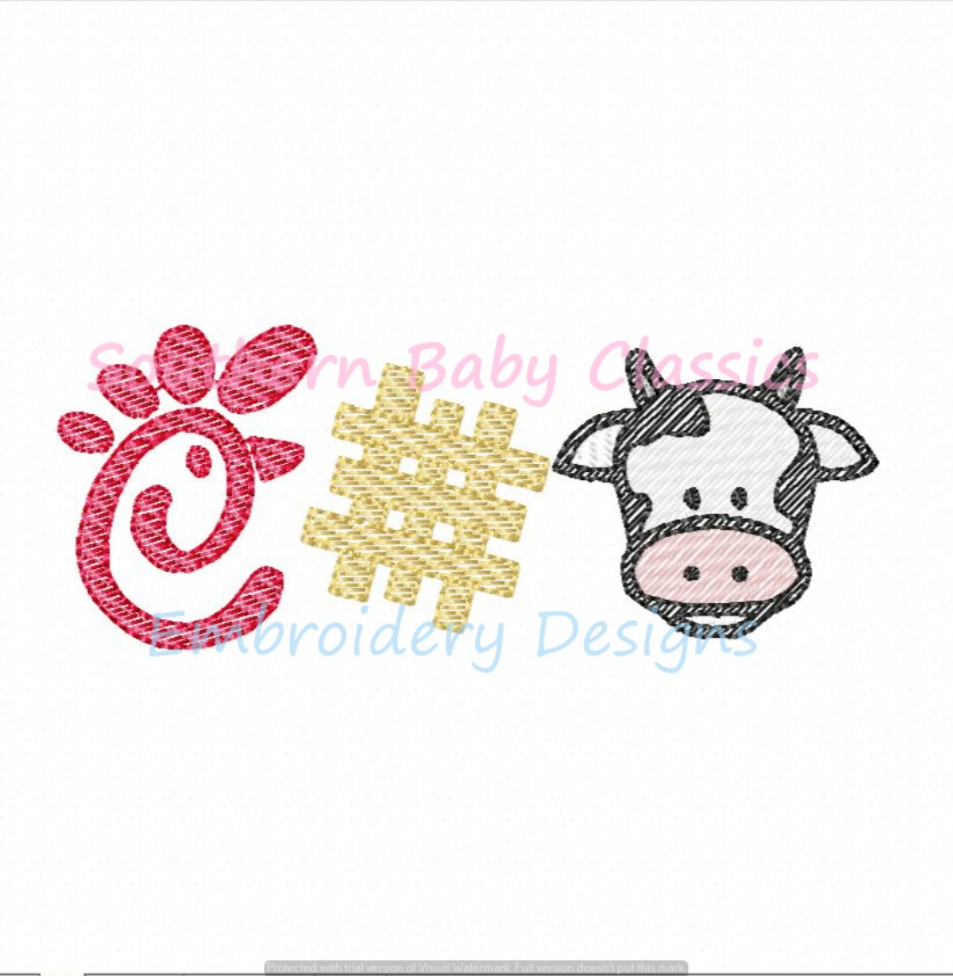 Chicken Restaurant Trio Light Sketchy Embroidery Design Cow Fast Food Nuggets Waffle Fries