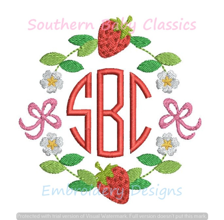 Strawberry Summer Flower Bow Floral Monogram Circle Frame Floral Machine Embroidery Design Girl Cute