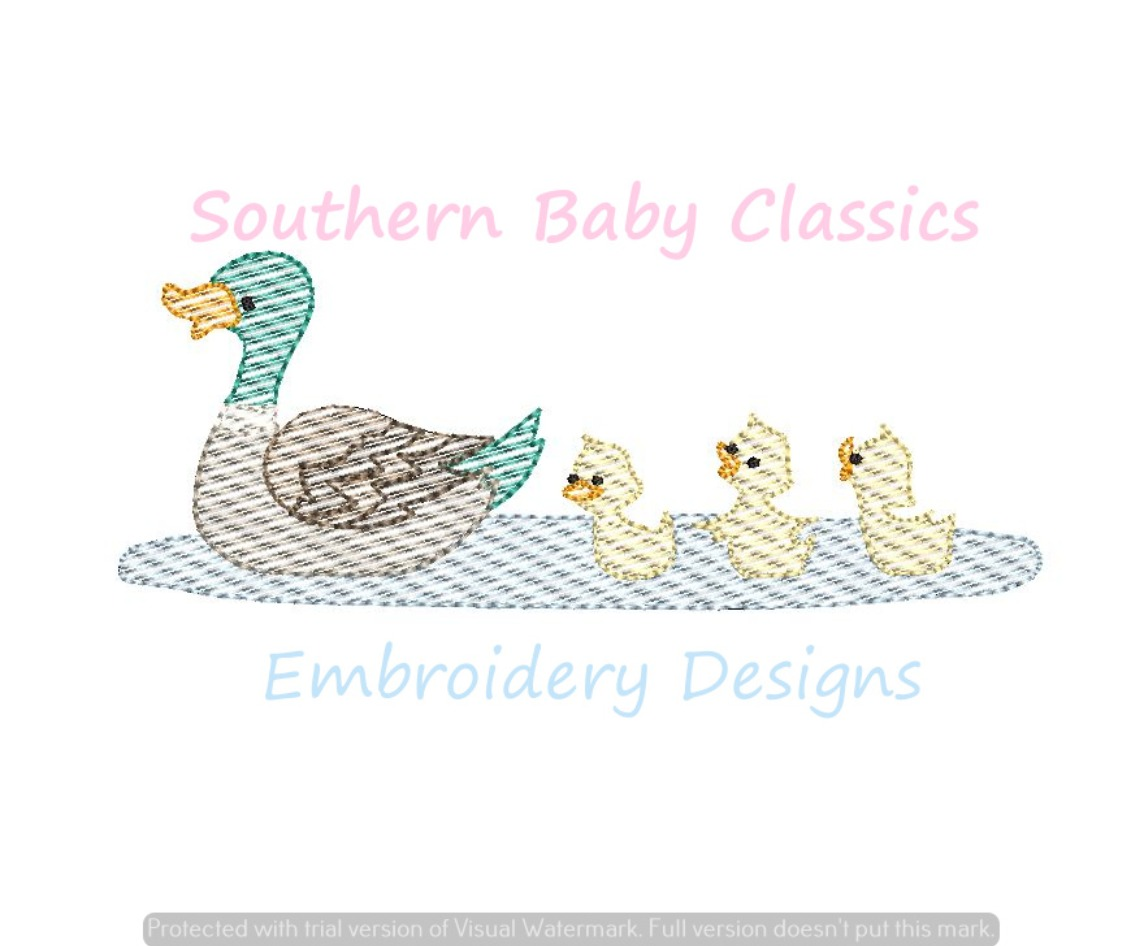 Duck and Ducklings Ducks Light Sketchy Fill Machine Embroidery Design Spring Mallard