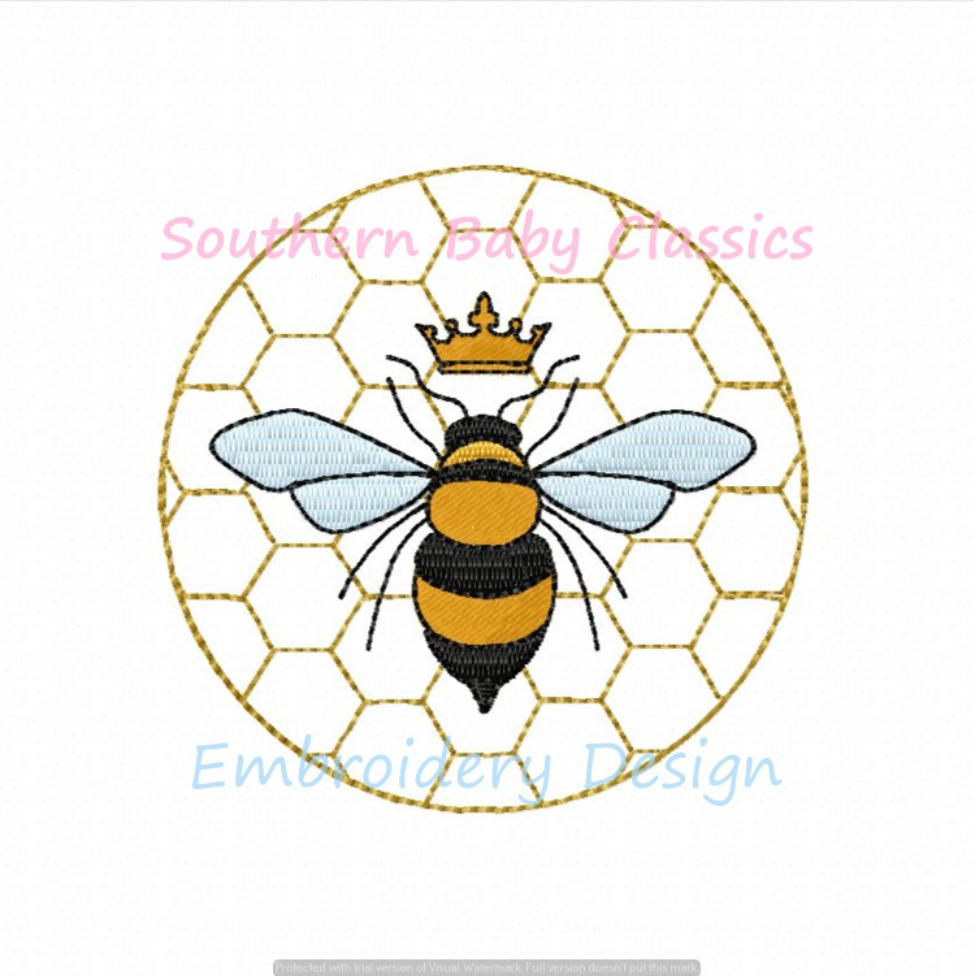 Honey Bee Circle Comb Hive Machine Embroidery Design Summer Bees Southern