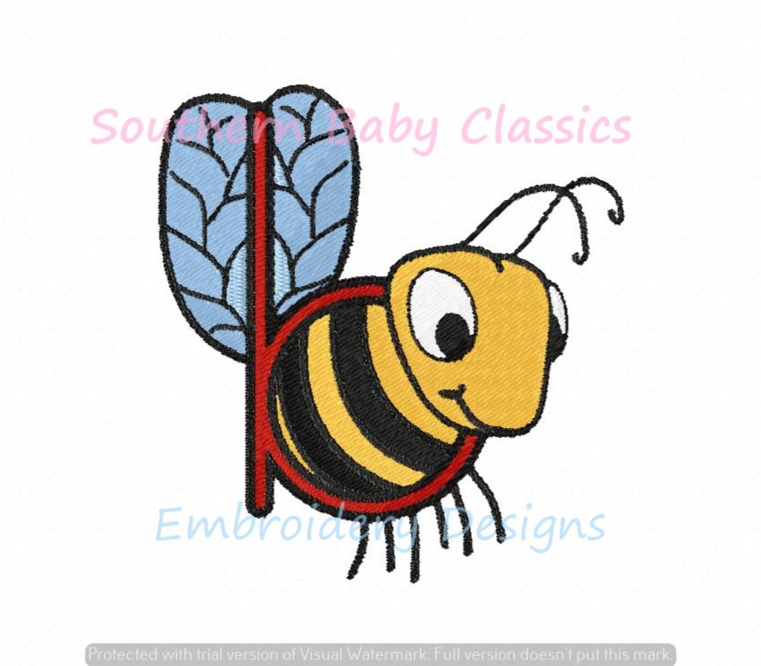 B is for Bee Alphabet Mini Fill Machine Embroidery Design ABC Name Back to School