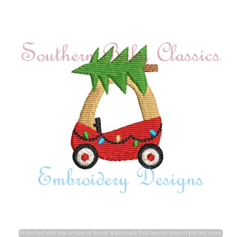 Cozy Coupe Toy Car With Tree Fill Machine Embroidery Christmas