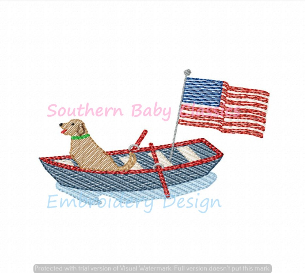 Golden Retriever Dog in Boat with Flag Light Sketchy Fill Quick Stitch Machine Embroidery Design