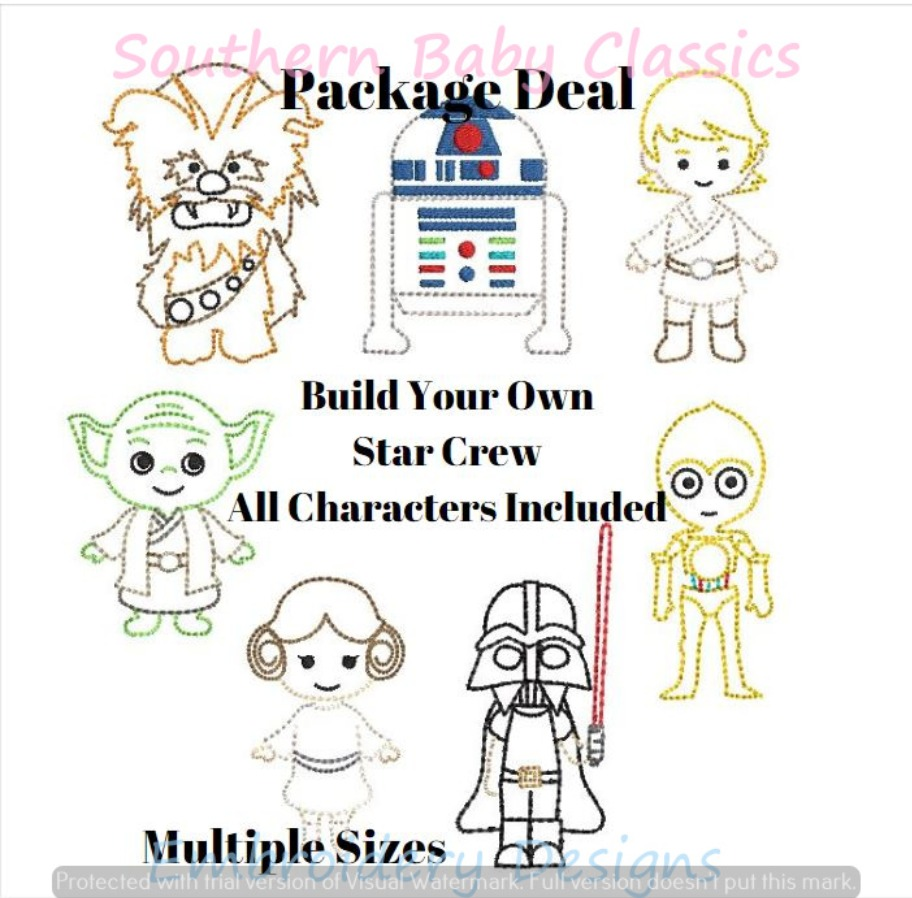 Build Your Own Star Crew Vintage Stitch Machine Embroidery Design Package Deal