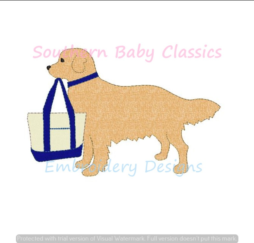 Golden Retriever Dog With Boat Tote Bag Vintage Seed Stitch Applique Machine Embroidery Design