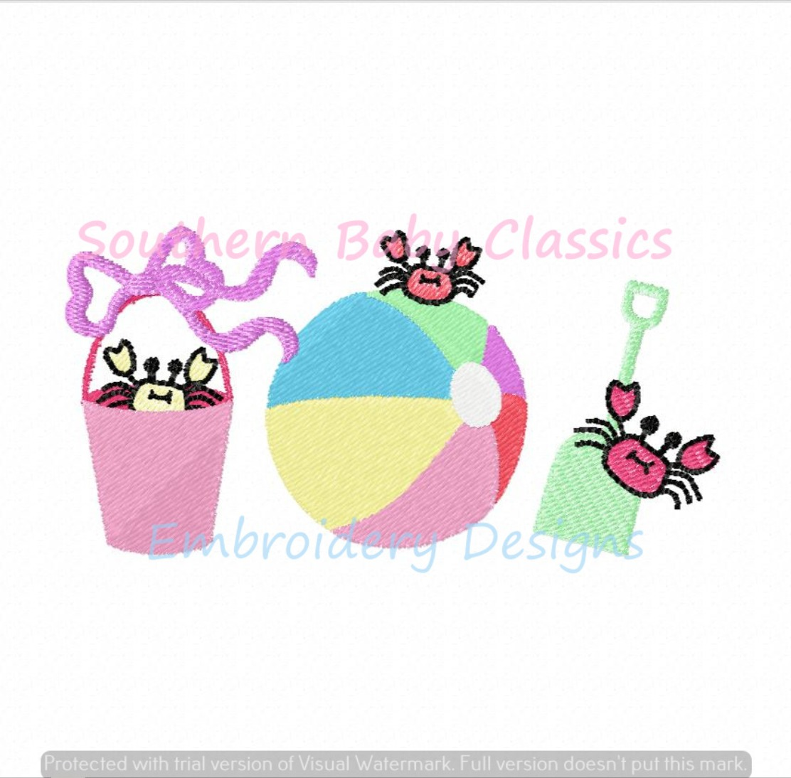 Crabby Beach Trio with Bow Full Fill Machine Embroidery Design Summer Cute Girl Ball Shovel Pail