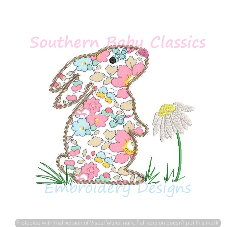 Easter Spring Bunny Rabbit with Daisy Zig Zag Machine Embroidery Applique Design