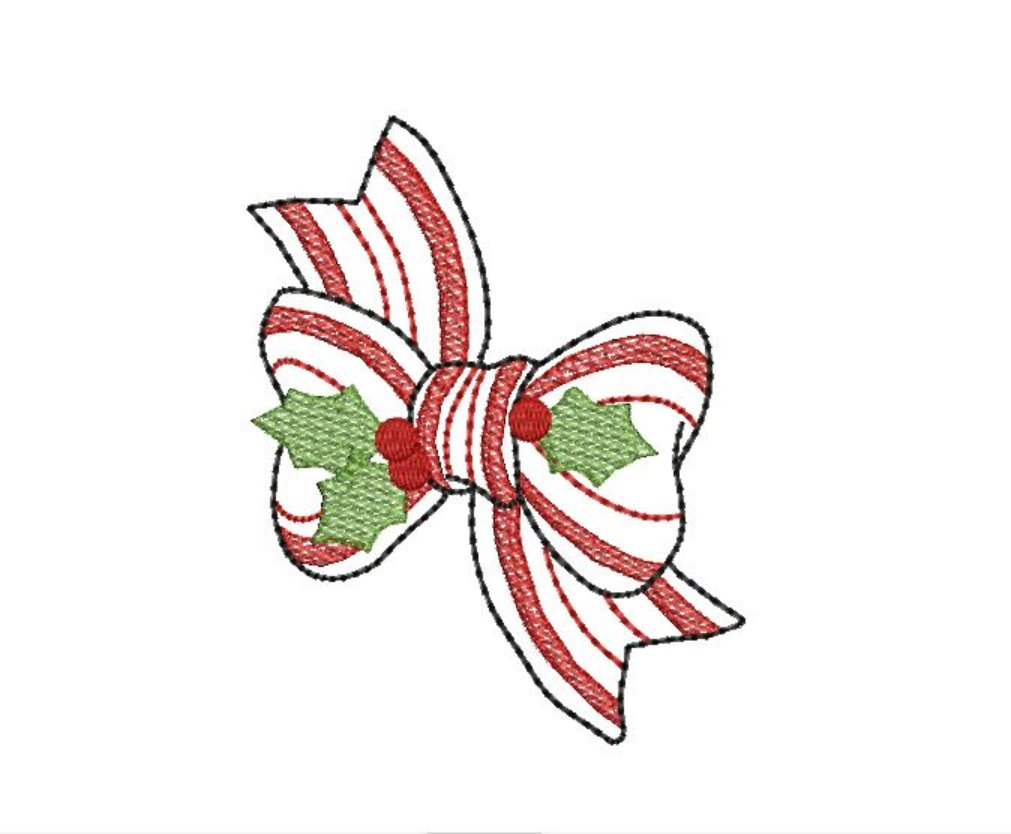 Candy Cane Bow Sketchy Fill Machine Embroidery Christmas