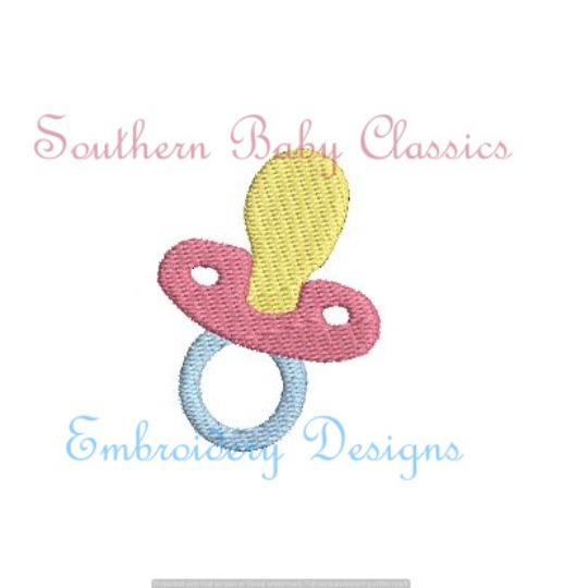 Binky Pacifier Full Fill Machine Embroidery Design Baby Shower