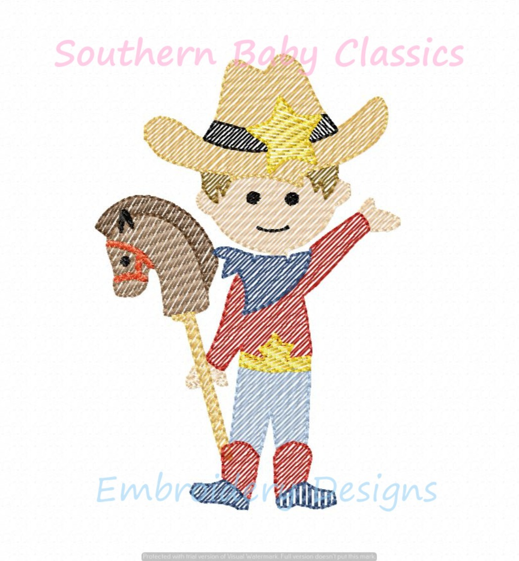 Cowboy Stick Horse Rodeo Texas Baby Boy Sketchy Light Fill Machine Embroidery Design