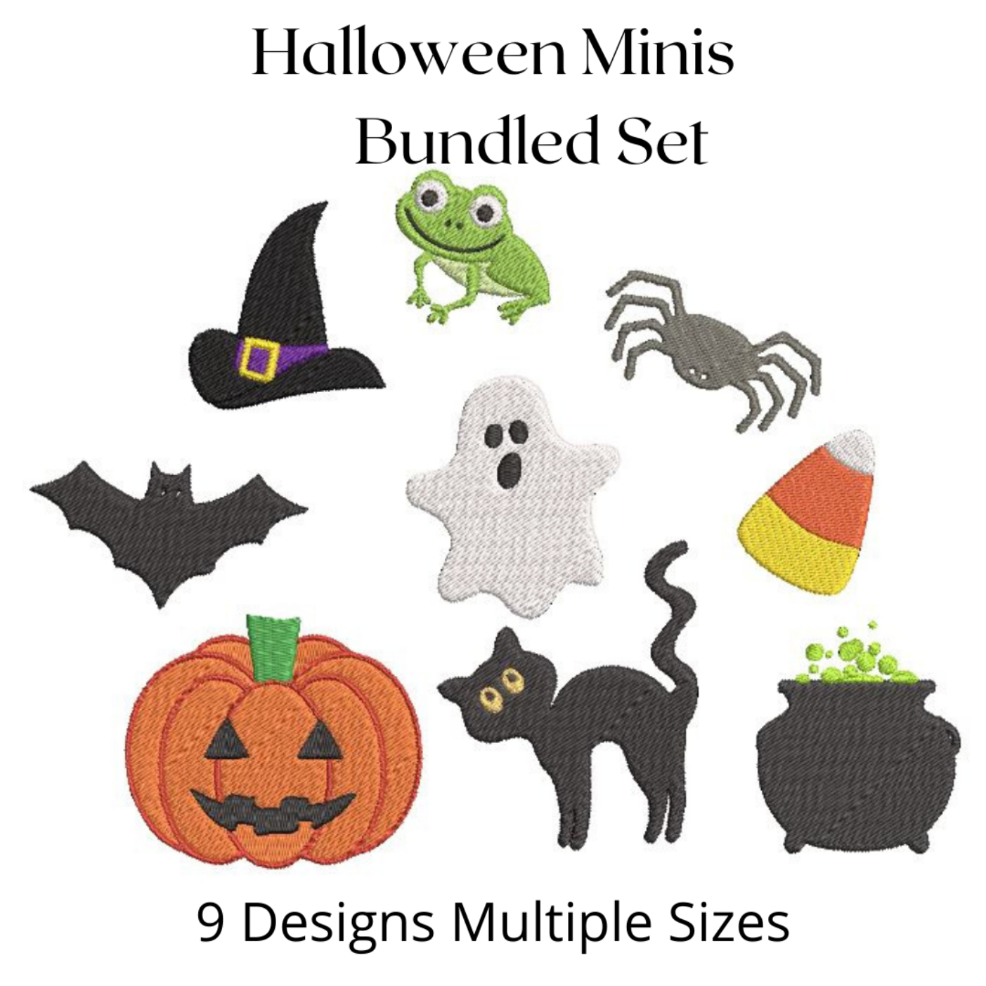Halloween Mini Fill Machine Embroidery Bundle Cat Ghost Frog Cauldron Witch