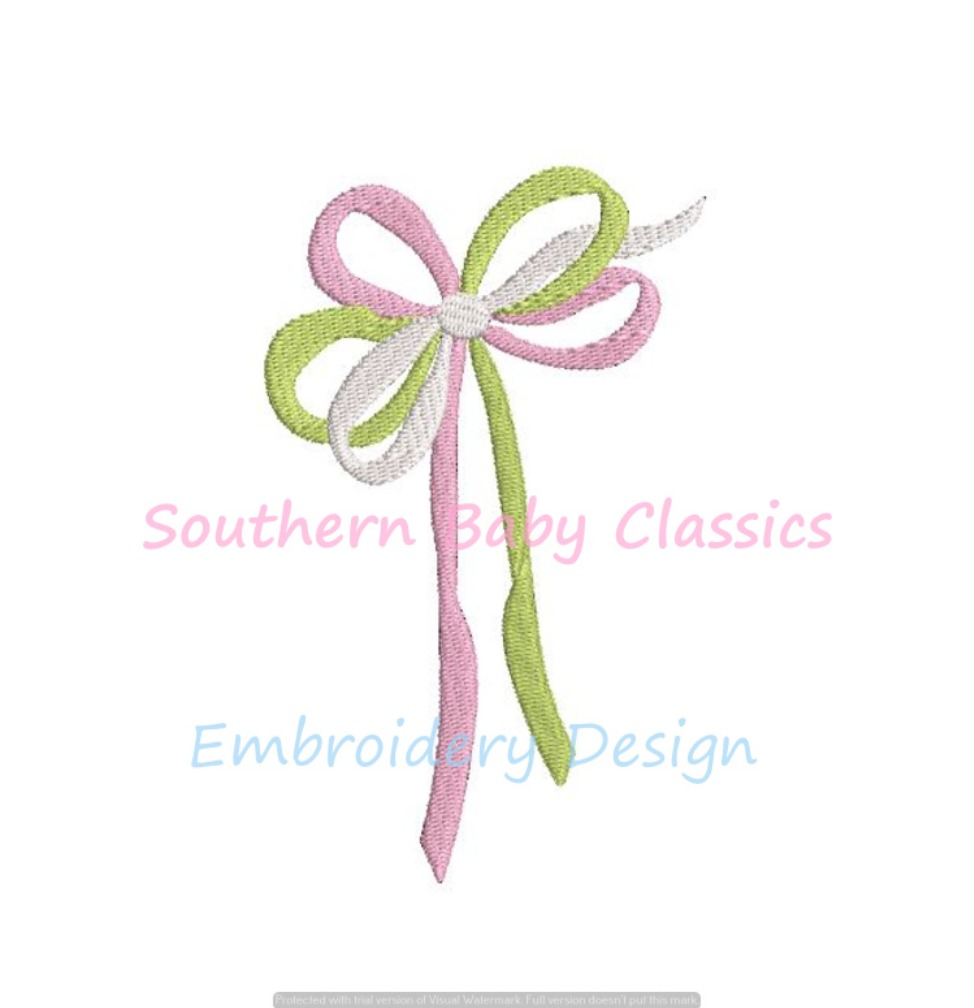 Tri-Color Bow 3 Colors Ribbon Machine Embroidery Design Girl Add On