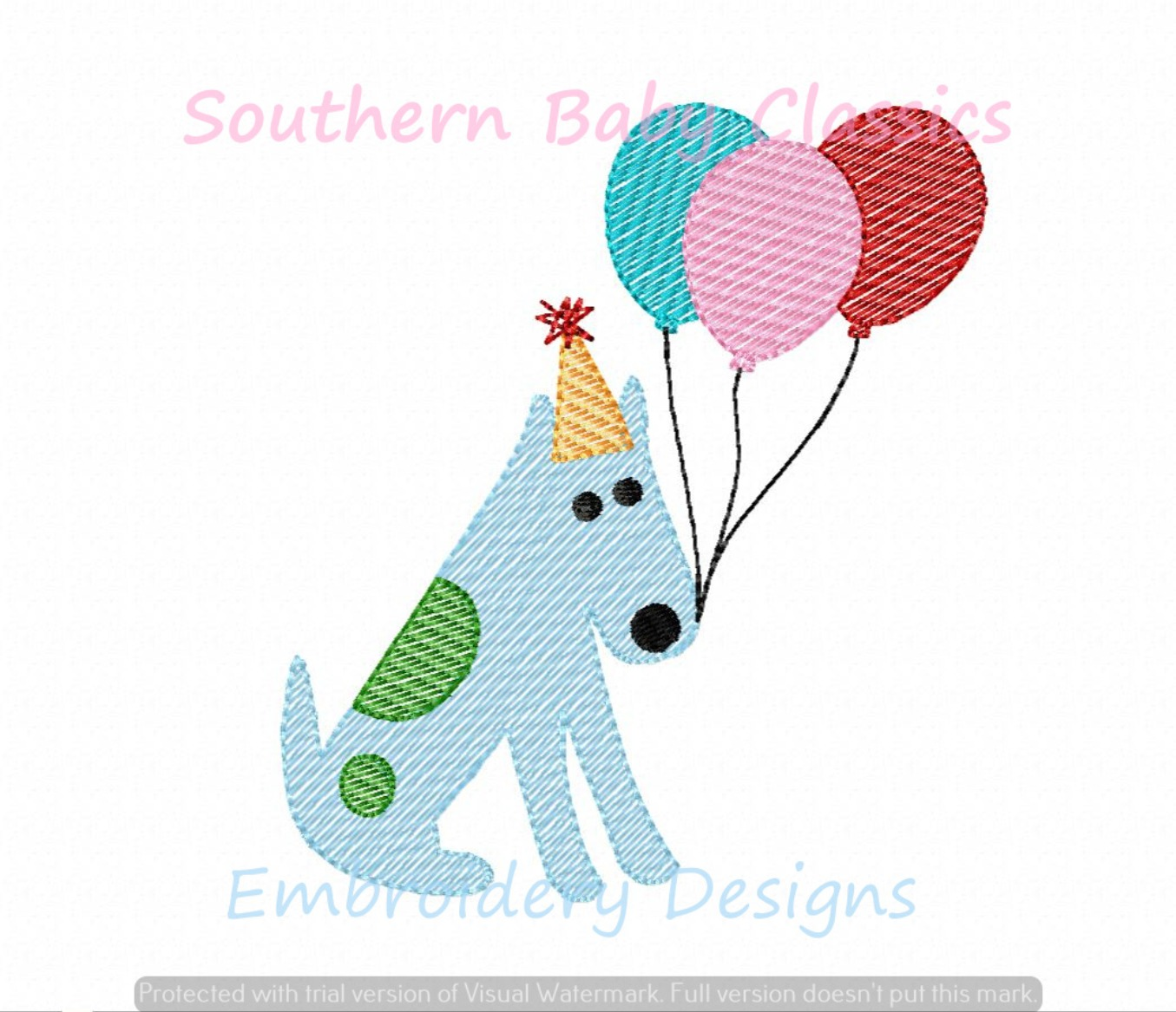 Birthday Dog Hat Balloons Light Sketchy Machine Embroidery Design Party