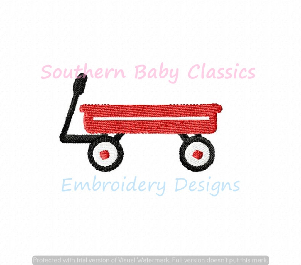 Little Red Wagon Mini Fill Machine Embroidery Design Toy Boy Summer