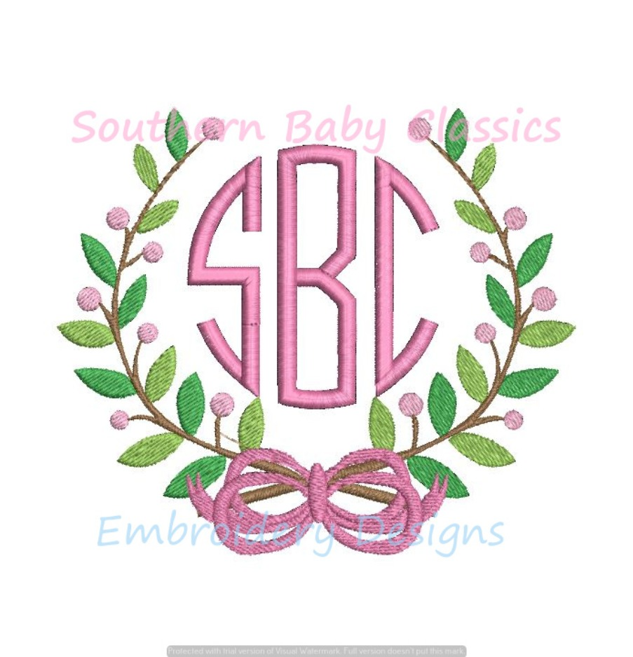 Berry Leaf Leaves Bow Ribbon Preppy Monogram Frame Machine Embroidery Design Girl Baby