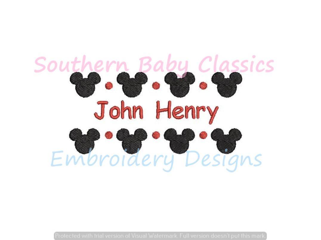 Mouse Boy Name Frame Machine Embroidery Design Character