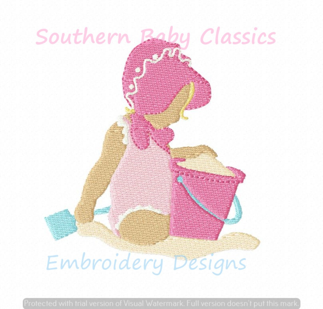 Beach Sun Bonnet Girl Toddler at Beach with Pale and Shovel Mini Fill Machine Embroidery Design