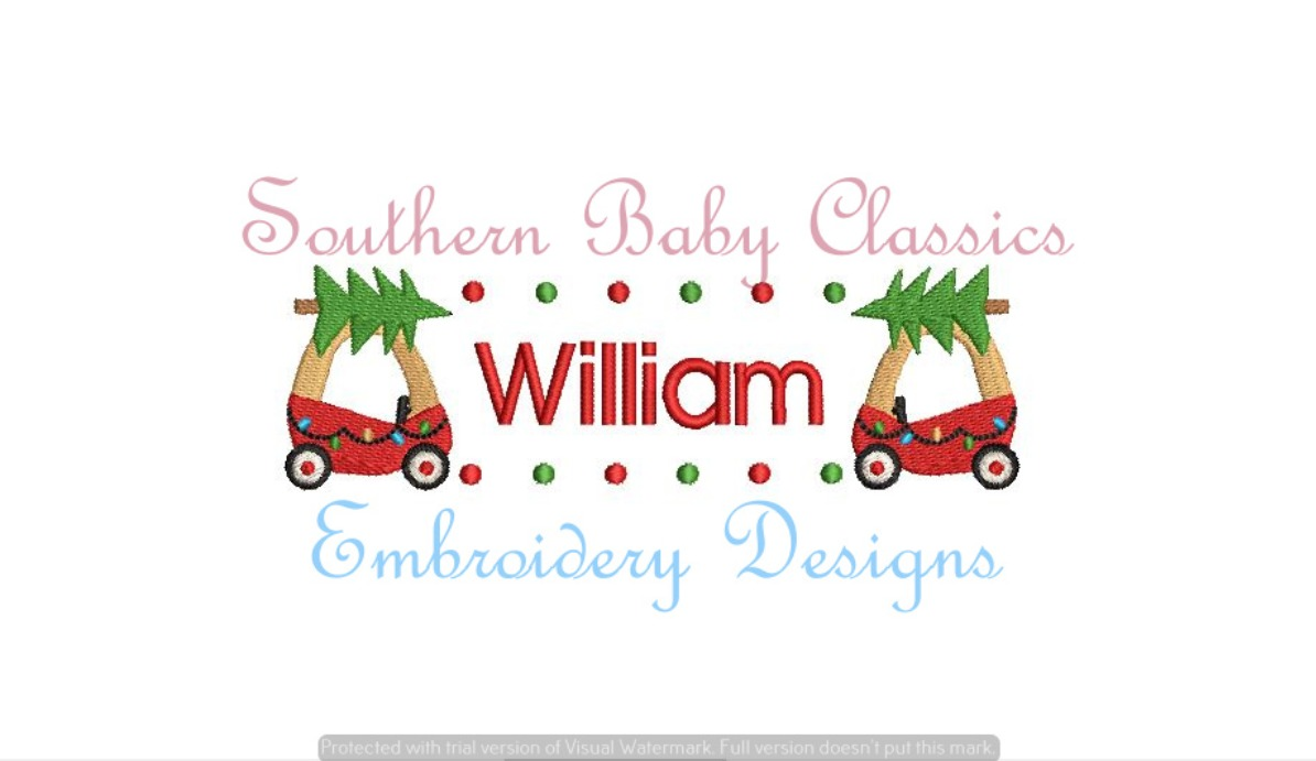Coupe Toy Car Christmas Tree Name Plate Frame Machine Embroidery Design