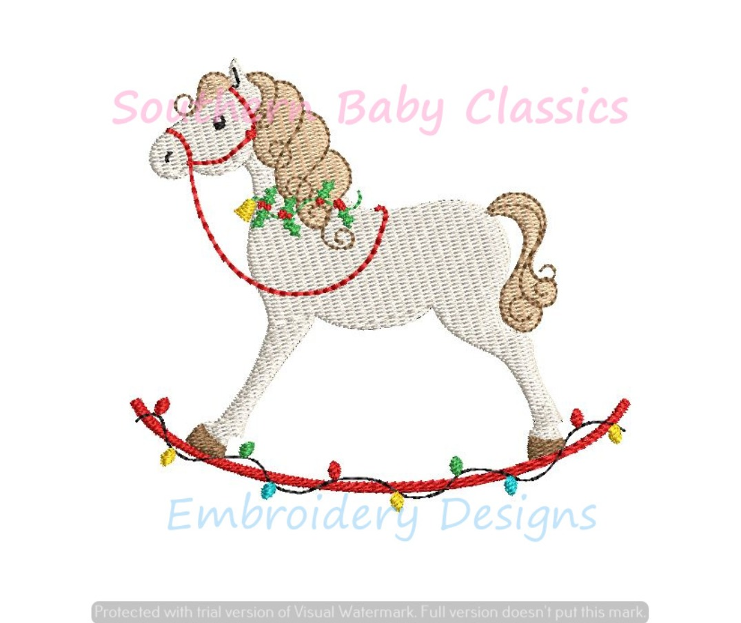 Christmas Holly Lights Rocking Horse Baby Toy Fill Machine Embroidery Design