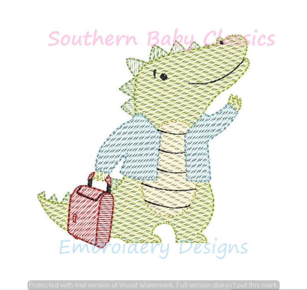 Later Gator Light Sketchy Fill Machine Embroidery Design Alligator After While Crocodile Summer Boy