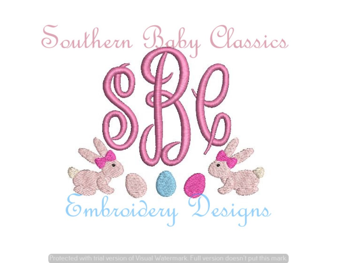 Bunny Bow Swag Fill Monogram Frame Machine Embroidery Spring/Easter
