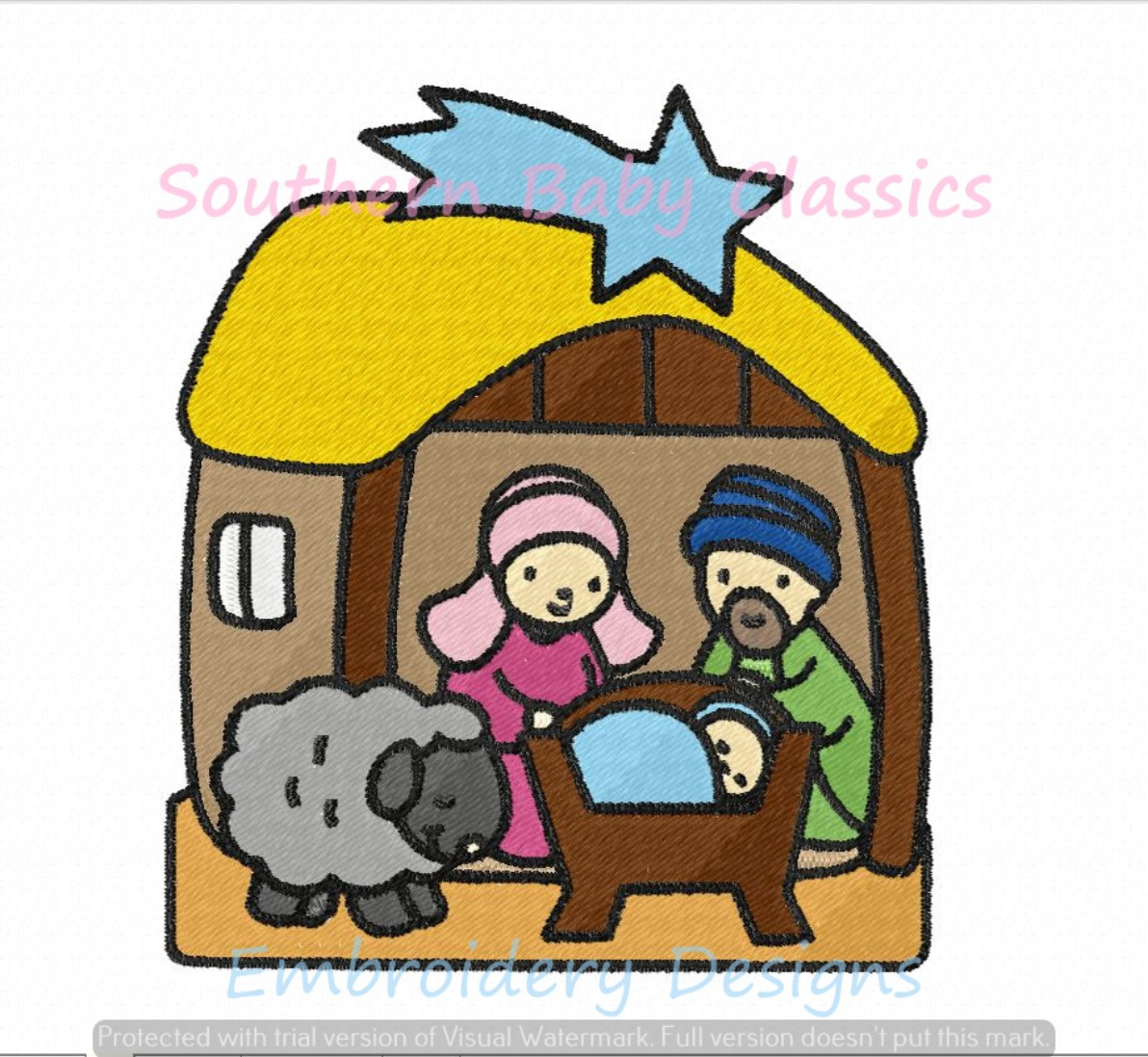 Christmas Story Baby Jesus in Manger Mary Joseph Machine Embroidery Design