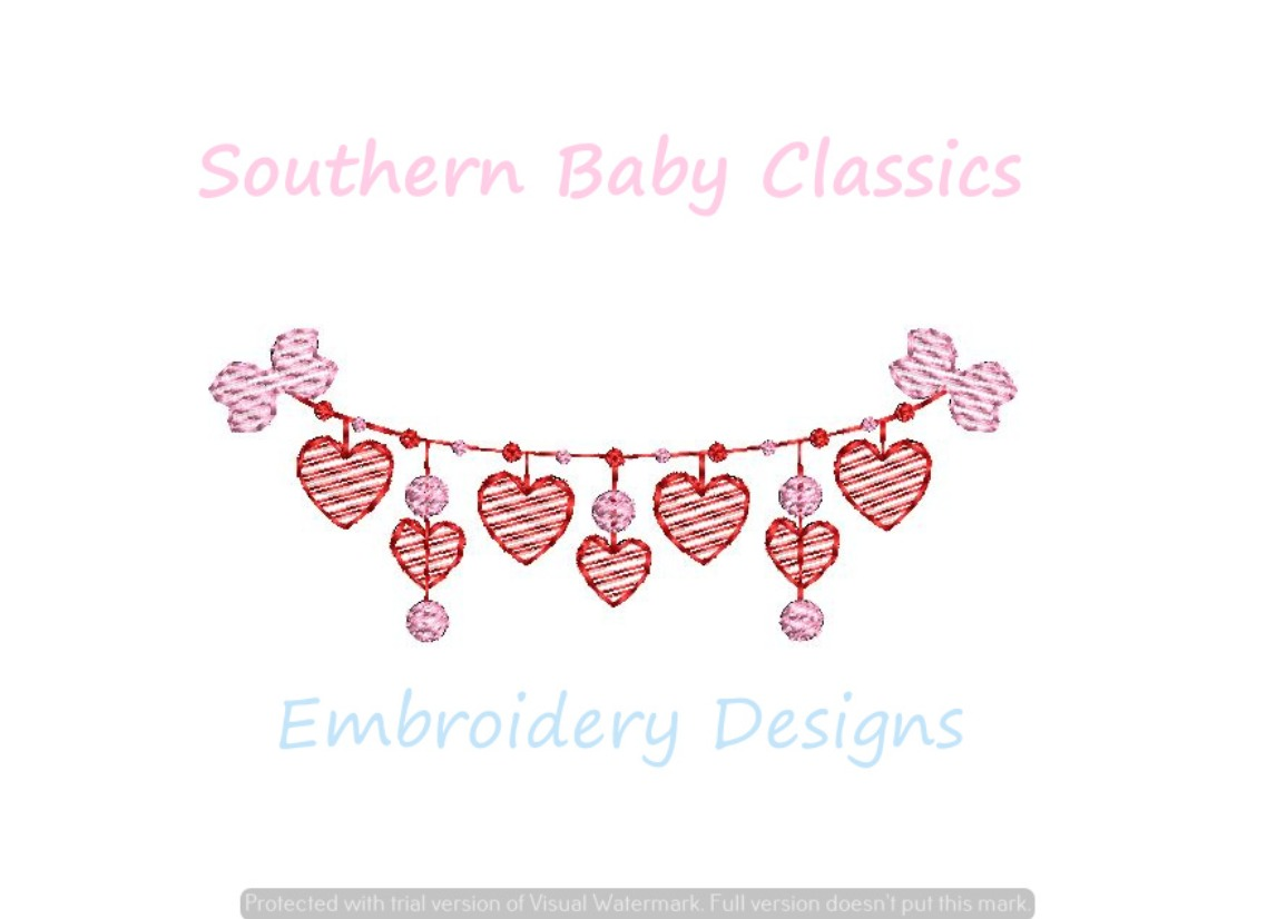 Heart Bow Swag Valentine's Day Sketchy Light Fill Machine Embroidery Design Valentine's Day