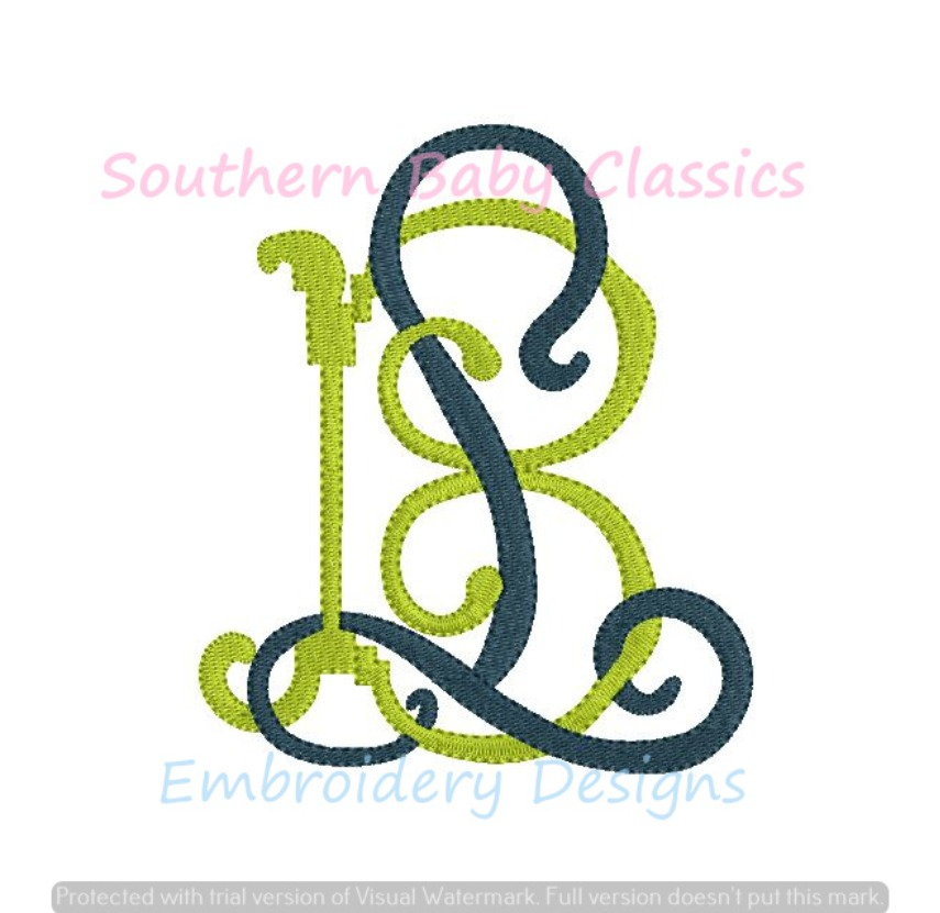 LB BL Intertwined Monogram Font Machine Embroidery Design Wedding Baby Linens