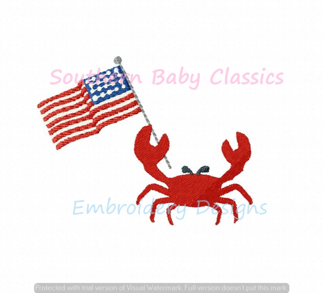 Crab American Flag Fourth of July Patriotic Beach Vacation Mini Machine Embroidery Design