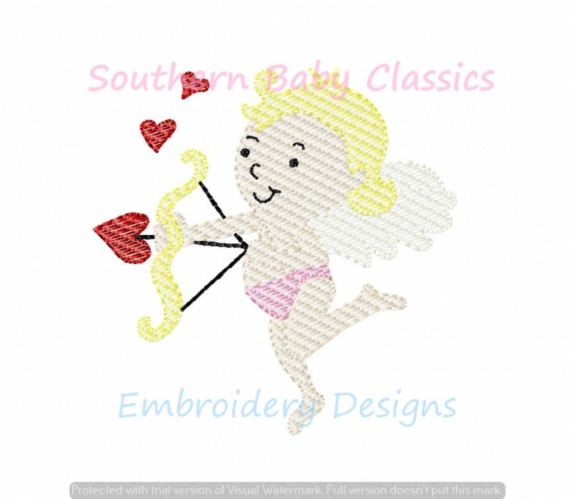 Cupid Sketchy Valentine Valentine's Day Light Fill Machine Embroidery Design Heart Love