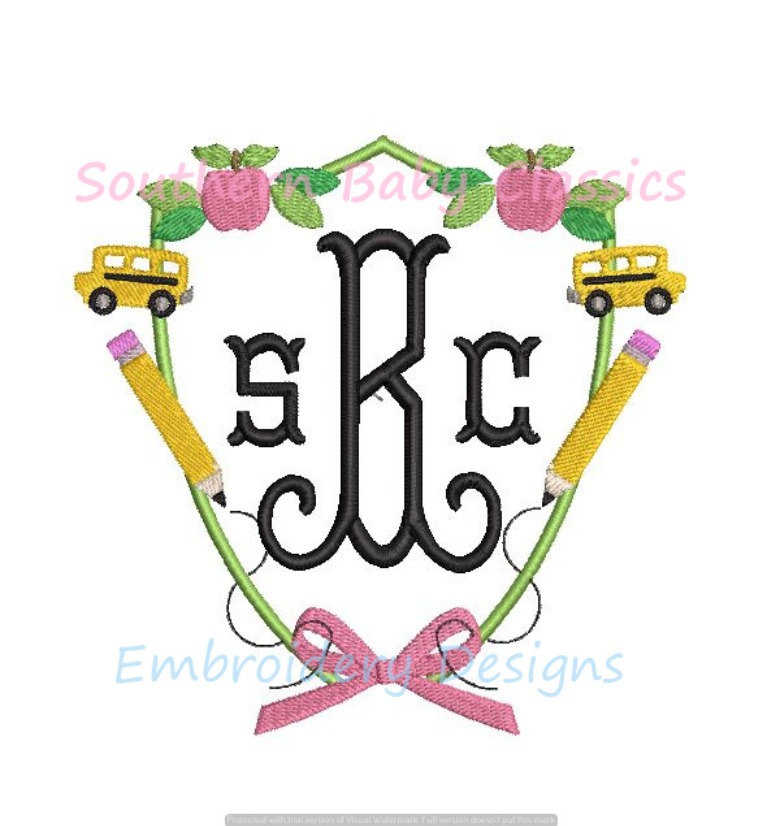 Back to School Crest Monogram Bow Frame Apple Bus Pencil  Cute Girl Machine Embroidery Design