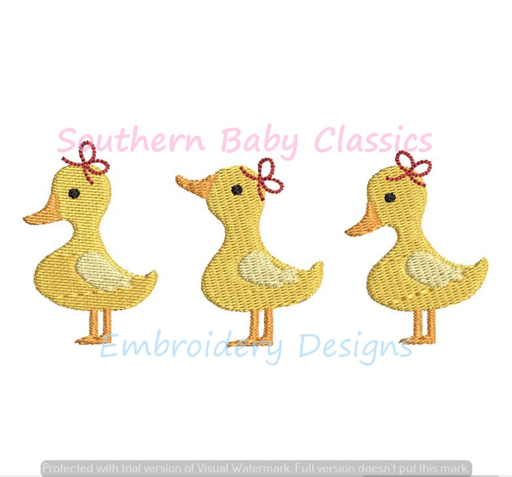Ducks Duckling Trio Girl Bow Three Easter Spring Machine Embroidery Design