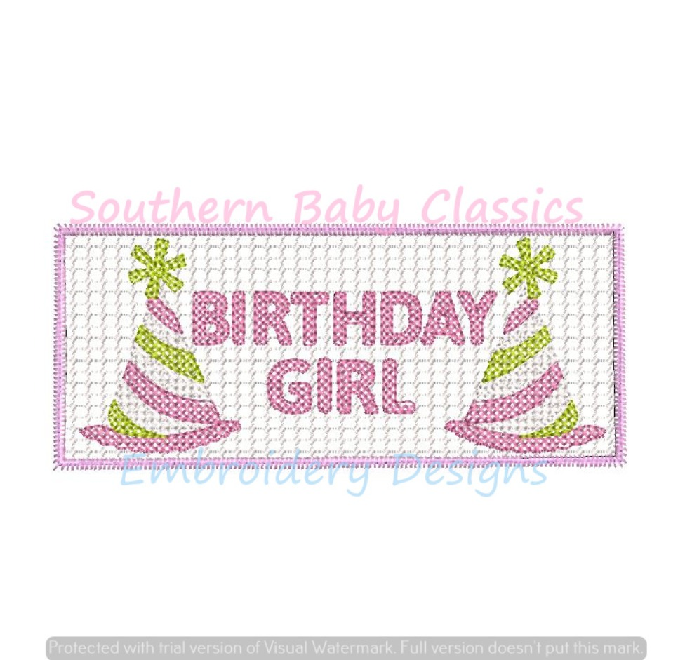 Birthday Girl Faux Smocking Smock Machine Embroidery Design Happy First Panel Applique