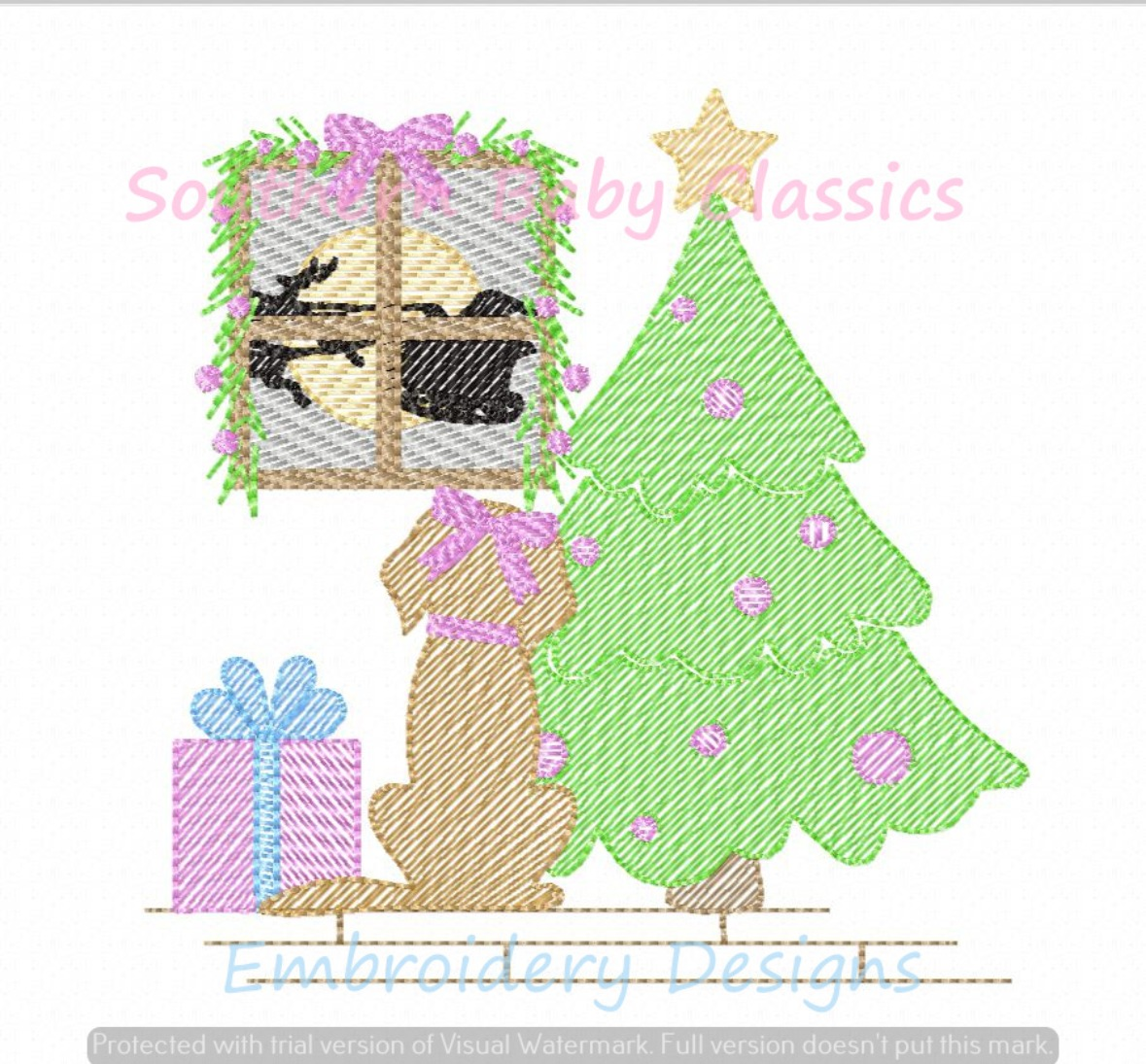 Christmas Girl Puppy Dog Sees Santa Sketchy Fill Machine Embroidery Design Tree Present