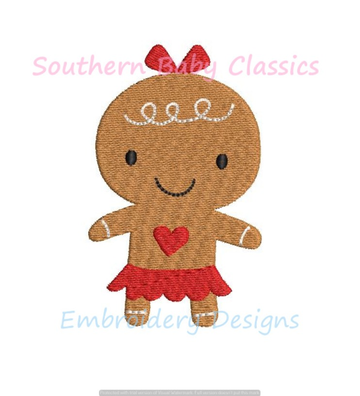 Gingerbread Girl Christmas Cookie Mini Fill Machine Embroidery Design