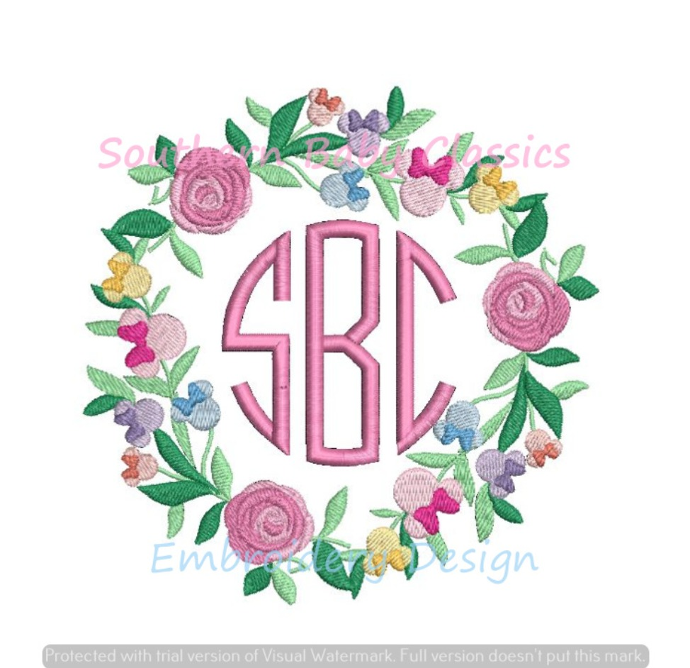 Mouse Girl Character Rose Flower Festival Floral Minnie Monogram Frame Machine Embroidery Designs